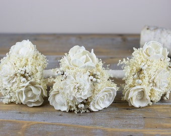 Handmade Weeding Bouquet, Rustic Woodland Bridesmaids Bouquet, Ivory Tallow Berries Bouquet, Sola Flowers Bouquet, Alternative Bouquet