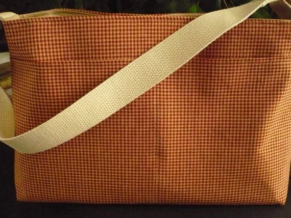 Maroon Plaid D Ring Purse Diaper Bag