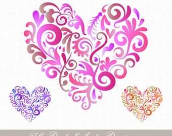 Multicolor Swirl Heart Clipart Set - INSTANT DOWNLOAD - .png & .ai files