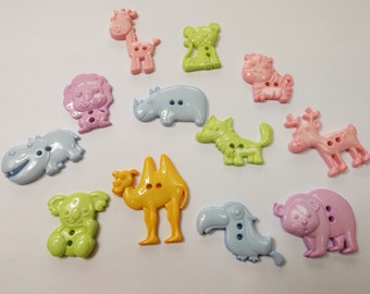 Animal buttons in a variety of pastel shades, Monkeys, Elephants, Seals, Camels and more