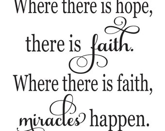 "Inspirational STENCIL *Where there is hope, there is faith* 12""x12"" for Painting Signs, Fabric, Canvas, Airbrush, Crafts, Wall Art and Decor"