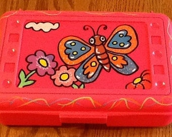 Butterfly pencil box, butterfly art box, girls art box, girls supply box, school supply box, animal art box, school art box, school box