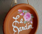 "Shabby Chic French Country Handpainted Terracotta Garden Sign ""Le Jardin"""