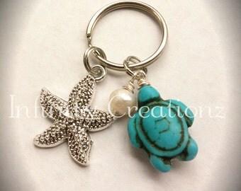 Turquoise turtle / starfish / freshwater pearl keychain