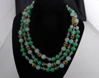SALE! Org 89.00 Elegant 1950's Rare Vintage 3 Strand Glass Beaded Necklace