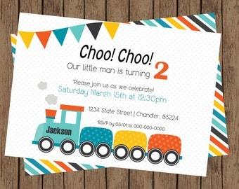 Choo Choo Birthday Party Invitation | Train Birthday Party, Train Party, Blue, Orange, Yellow, Choo Choo, 2nd Birthday Party (5x7)