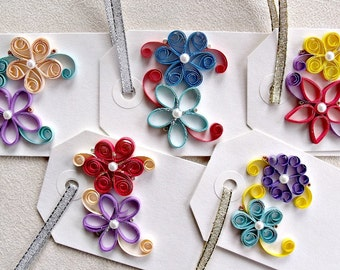 handmade paper quilled gift tags – set of  five rectangular tags