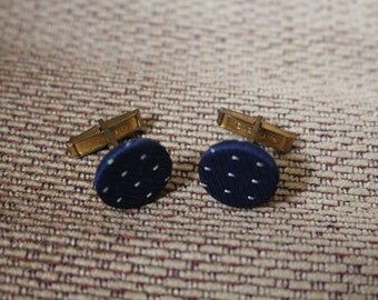 Vintage Navy Blue Fabric Cuff Links