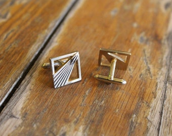 Vintage Swank Gold Tone Art Nouveau Cuff Links