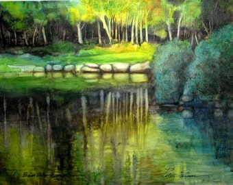 """Matted Water Color Reproduction Print """"Bass Lake Reflection"""""""