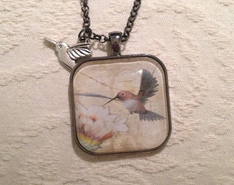 Hummingbird and Flower Pendant