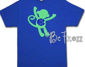 Patterned monkey monogram shirt. Toddler/youth sizes
