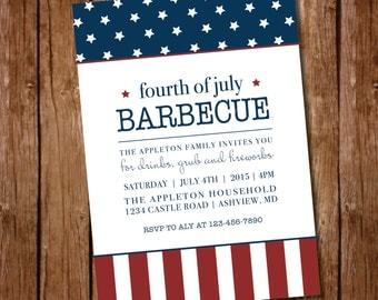 Printable 4th of July Party Invitation - Digital File