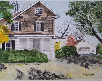 """CUSTOM Home WATERCOLOR Paintings- an original painting of YOUR house, sizes up to 22""""w x 16""""h"""