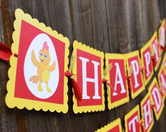 Chica chicken - The Chica Show - Happy Birthday Banner, Yellow and Red