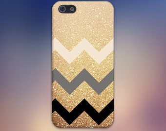 Gold Glitter Tan Grey Black Chevron Handmade Case, iPhone 7, iPhone 7 Plus, Tough iPhone Case, Galaxy s8, Samsung Galaxy Case, CASE ESCAPE