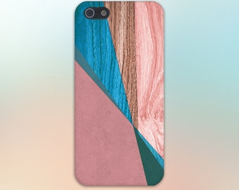 Geometric Pink Light Blue Wood Print Phone Case,iPhone X, iPhone 7 Plus, Tough iPhone Case, Galaxy s8 Samsung Galaxy Case Note 8 CASE ESCAPE
