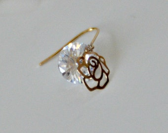 EARRINGS, gold, plated Swarovski Crystal