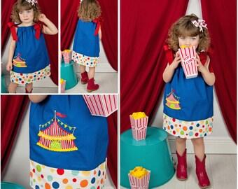 Circus Birthday Dress, Circus Pillowcase Dress, Circus Tent Dress, Applique Dress