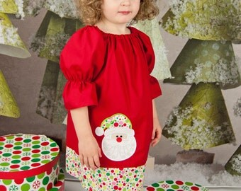 Santa Christmas Dress, Peasant Christmas Dress, Applique Christmas Dress