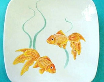 Handpainted Fish Plate • Gold, Yellow and Orange Koi Goldfish • Teal Seaweed on White Ceramic • Exclusive Wall Art • Crafts by the Sea