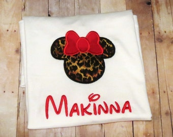 Personalized, Minnie Mouse shirt- perfect for Disney trip! leopard minnie mouse head