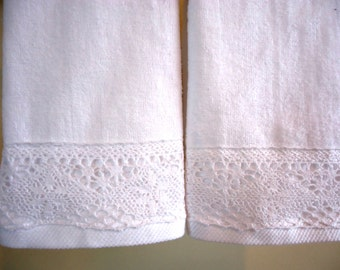 CLUNY LACE Fingertip/Guest Towels (2) White Velour 100% Cotton New Custom-embellished