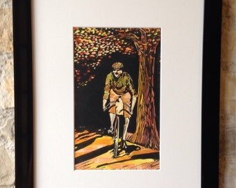 Original watercoloured linocut print of a vintage cyclist