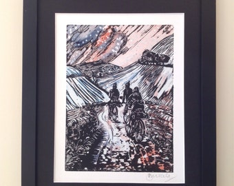 Watercoloured linocut print of 3 cyclists riding up a track, Snow version (4)