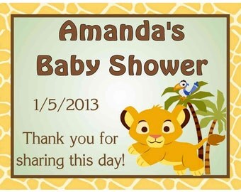 15 Lion King Baby Simba Baby Shower Favors Personalized MAGNETS ~ FREE SHIPPING