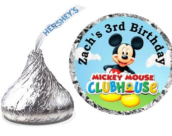 216 ~ Mickey Mouse Clubhouse Birthday Party Hershey Kiss Kisses sticker Labels ~ FREE SHIPPING