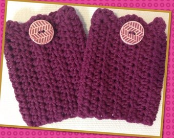 Ladies - Teen Boot Cuff, Leg Warmer, Boot Sock, Winter Mulberry Color FREE SHIPPING!!!