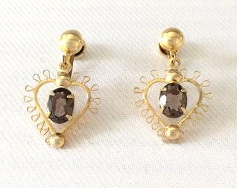 Vintage Heart Dangle Earrings Gold Filled- Hematite Gemstone - Bridal, Wedding, Flower Girl, Bridesmaids 1/20 12K G.F. Gold Filled GF