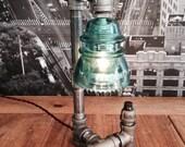 Steampunk Industrial Vintage Hemingray Insulator Pipe Lamp