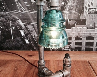 Steampunk Industrial Vintage Hemingray Insulator Pipe Lamp