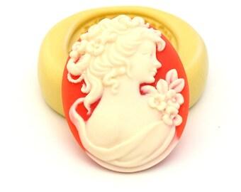 Victorian Woman Cameo Mold Mould Resin Clay Fondant Wax Soap Fimo Cabochon Flexible Silicone Mold