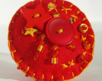 Felt Button Brooch-Red Orange Ande Yellow-Button Brooch-Perfect For Brightening Your Wardrobe