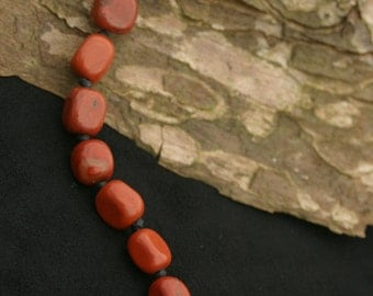Hand knotted red jasper necklace