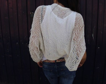 Ivory Shrug Summer Shrug Boho inspired shrug Loose knit cotton summer shrug Beach cover up
