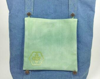 BIG SALE, Blue Denim Tote Bag, Customizable Tote Bag With Removable Pockets, Casual Tote, Denim Bag, Denim Shoulder Bag, School Bag, Purse