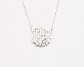 925 Sterling Silver Custom Three Letter Initial Monogram Pendant