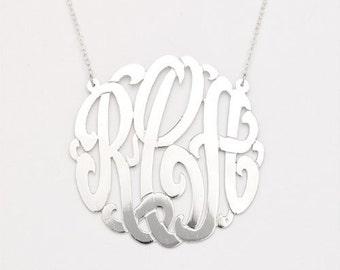 925 Sterling Silver Custom Three Letter Initial Monogram Pendant
