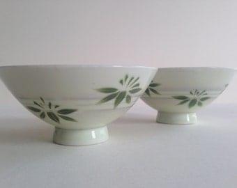 JAPANESE Rice Bowls | Green Leaf Decoration | Delicate Porcelain | Set of Two