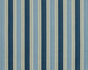 Waverly Spotswood Stripe Porcelain Fabric - by the Yard