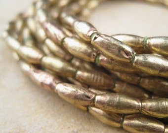 Elongated Brass Oval Beads From the Villages of Ethiopia! African Metal Beads - Brass Spacers - Wholesale African Beads - Brass Beads 217