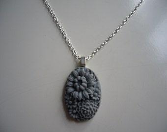 Grey Flower Resin Pendant Necklace, Flower Necklace, Resin Pendant Necklace, Silver Necklace- Nickel Free
