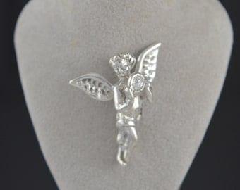 Angel Pendant / Guardian Angel CZ Birth stone Sterling Silver .925