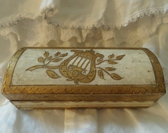 Beautiful Vintage Italian Florentine Display Box Shabby Chic Florentia Italy