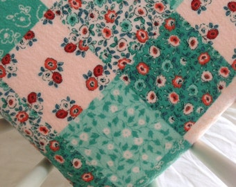 SALE! Patchwork flannel fitted crib sheet