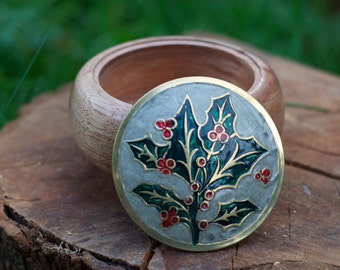 Handcrafted Keruing Trinket Box with Holly Leaf design lid H 7cm x D 11.5cm